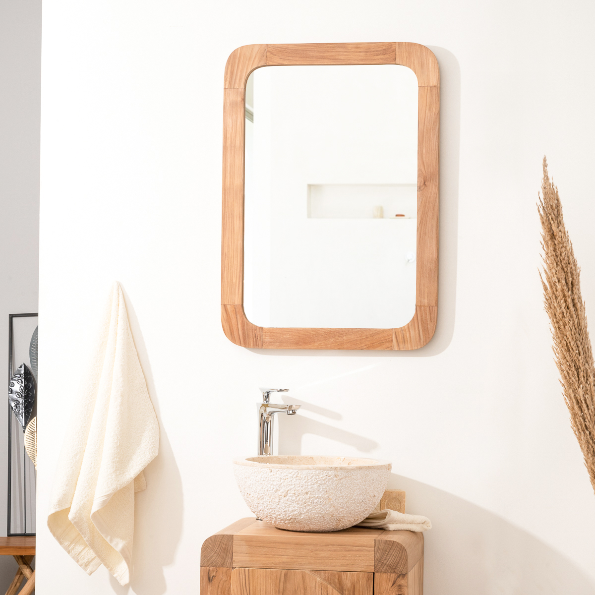 Miroir r tro en teck massif 70 cm x 50cm for Miroir salle de bain teck