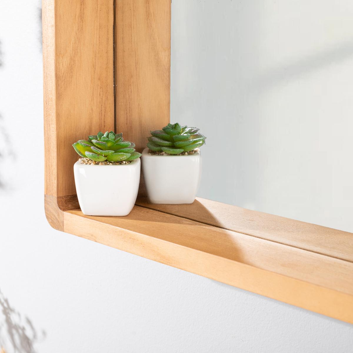Miroir salle de bain miroir teck rectangulaire Samba 50 X 70 cm
