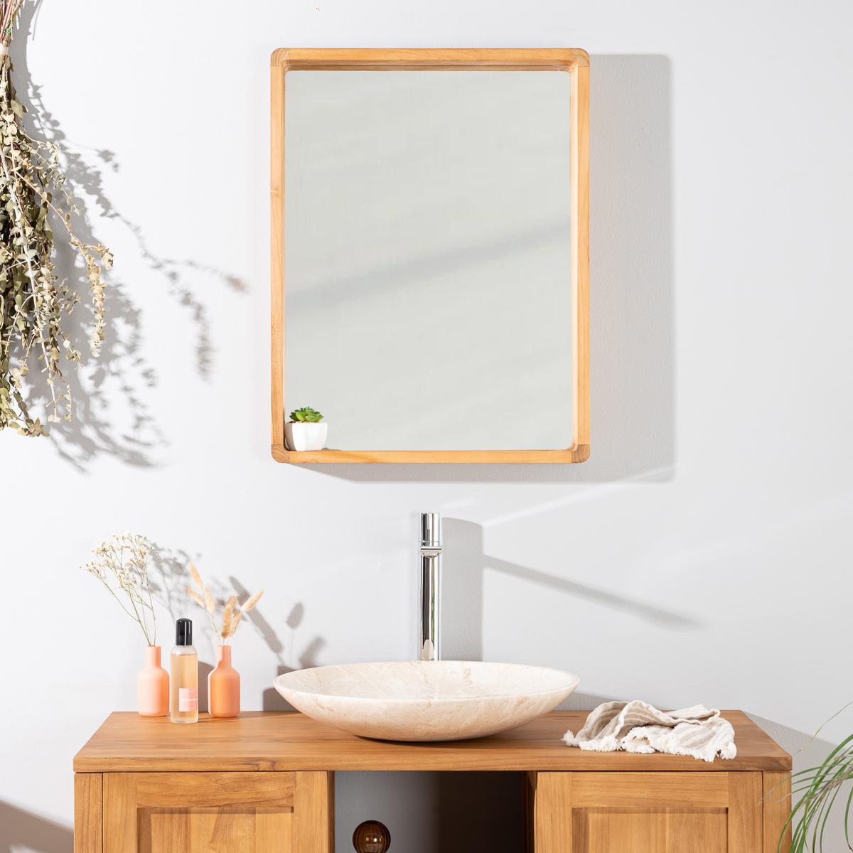 Miroir salle de bain miroir teck rectangulaire samba for Miroir teck 50 x 70