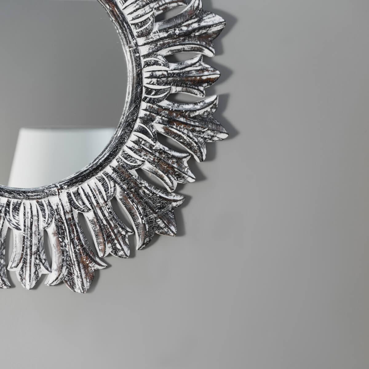 Miroir de d coration en bois massif soleil rond bois for Question miroir