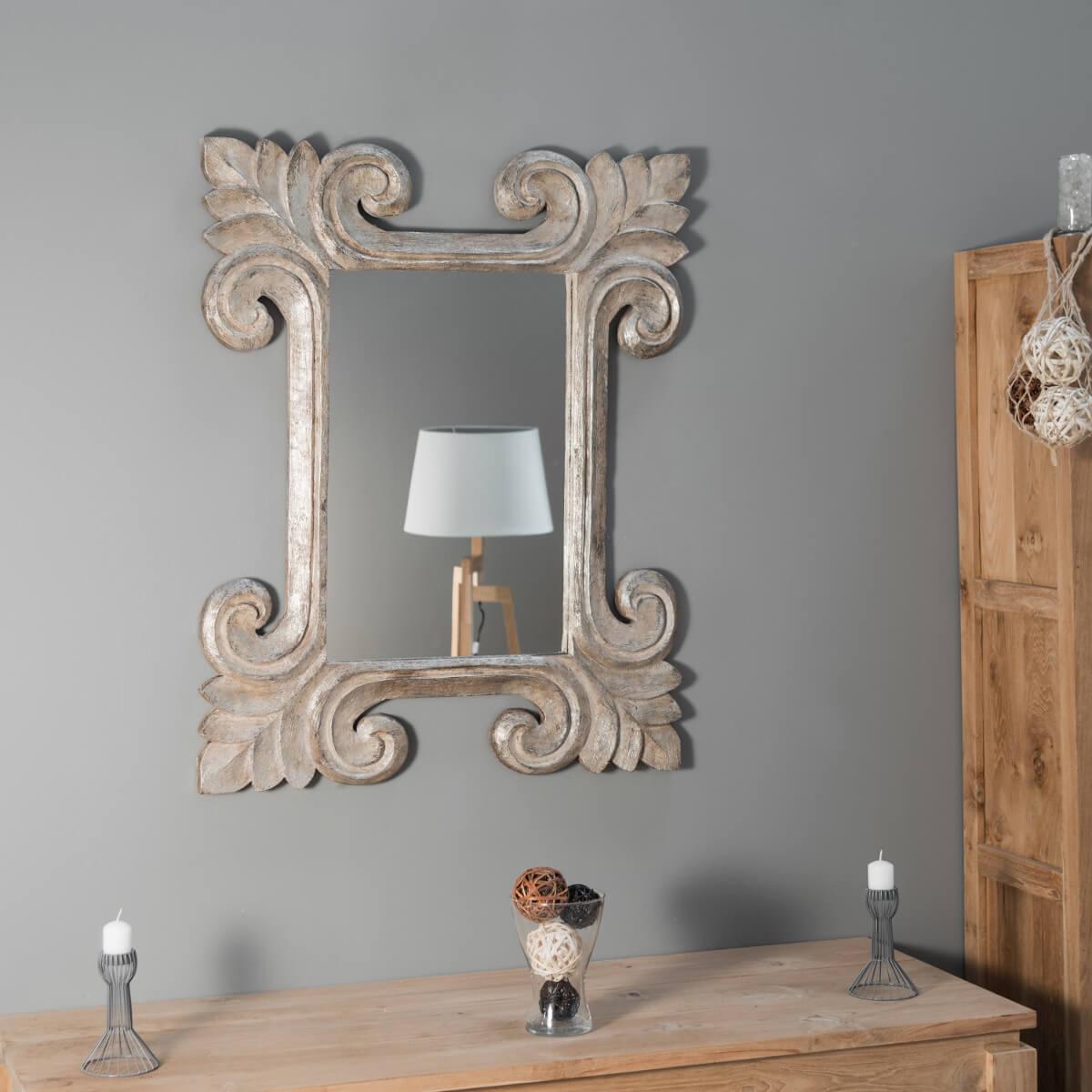 miroir de d coration en bois massif tol de rectangulaire bois patin bronze d 80 x 100 cm. Black Bedroom Furniture Sets. Home Design Ideas