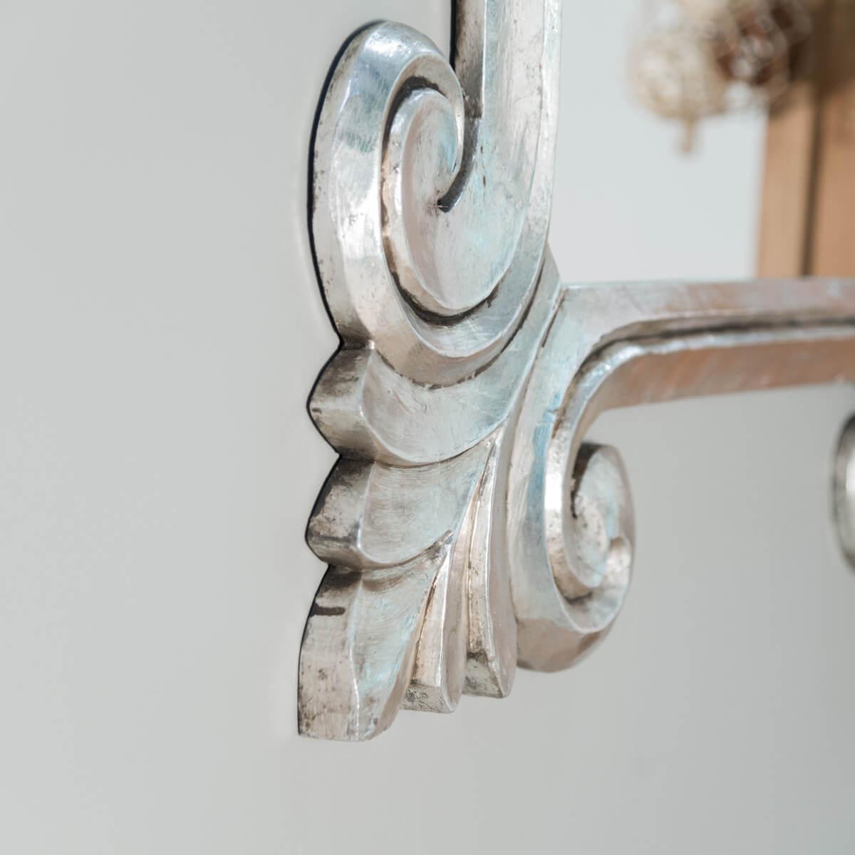 Miroir de d coration en bois massif tol de rectangulaire bois patin argent d 80 x 100 cm for Miroir 60 x 100