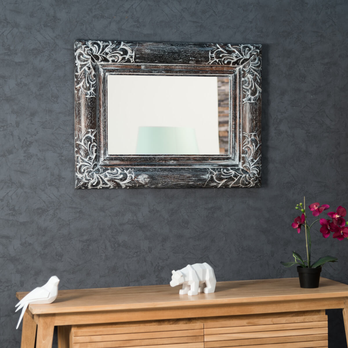 Miroir valence en bois patin 60 x 80 c rus gris for Collection miroir