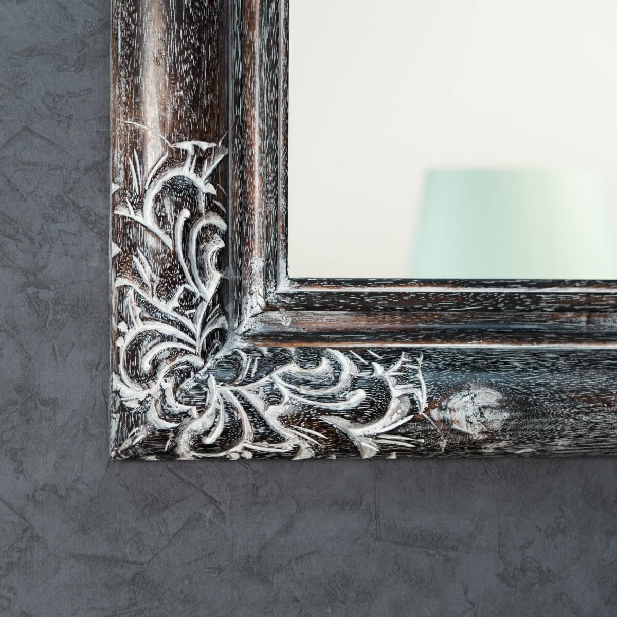 Miroir valence en bois patin 60 x 80 c rus gris for Miroir 50 x 60