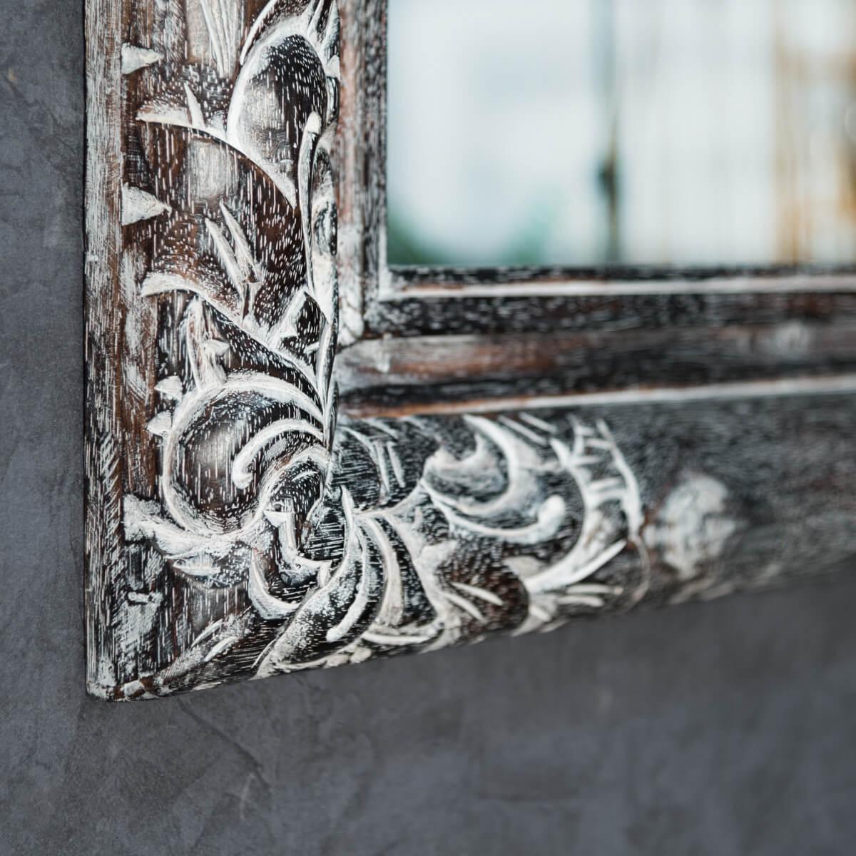 miroir valence en bois patin 60 x 80 c rus gris. Black Bedroom Furniture Sets. Home Design Ideas