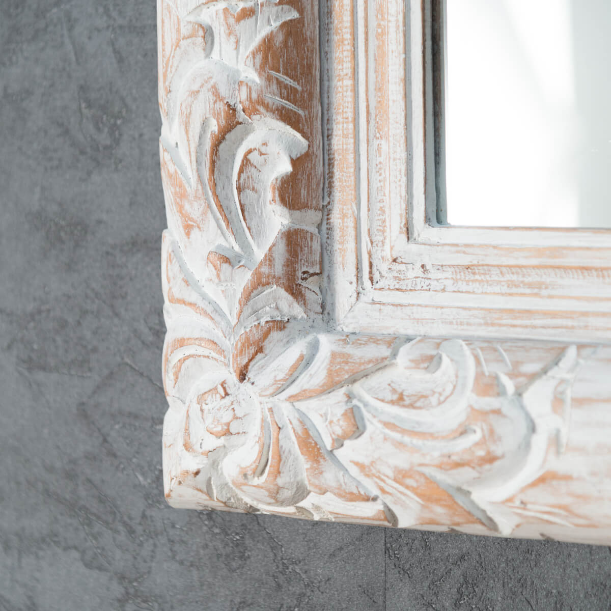Miroir de d coration en bois massif valence for Miroir cadre blanc