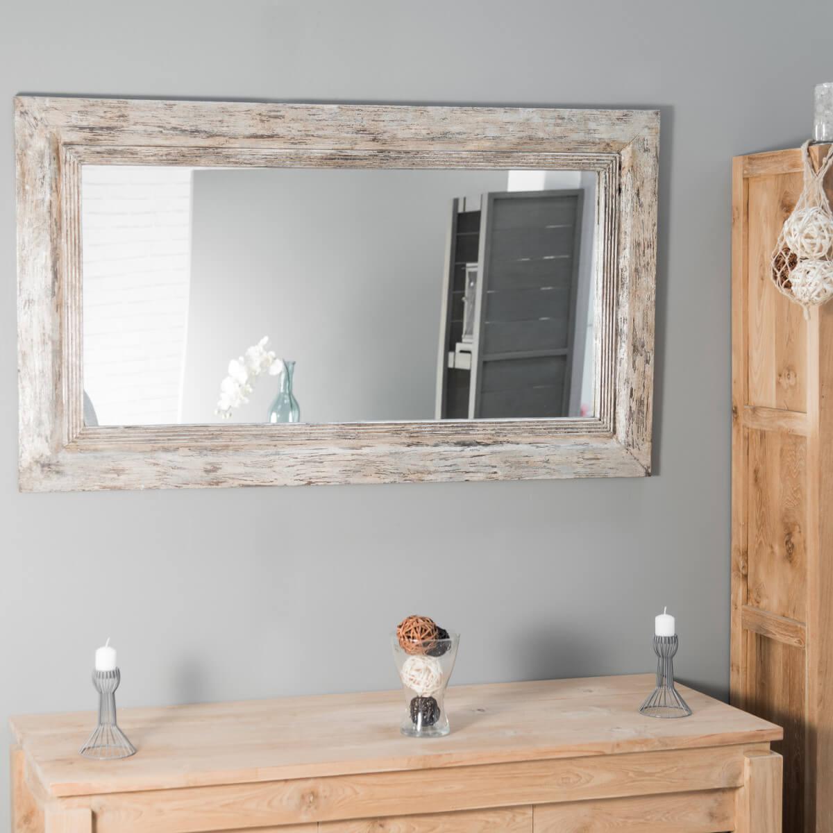 Miroir venise en bois patin 140cm x 80cm for Miroir en bois