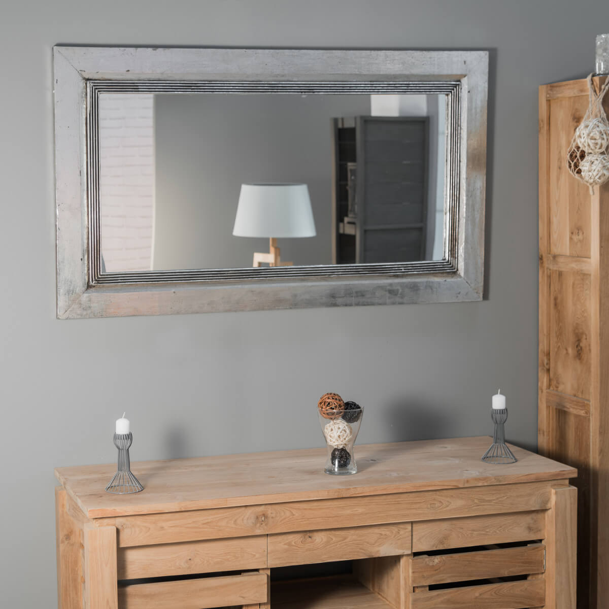 Miroir venise en bois patin argent 140cm x 80cm for Grand miroir salon