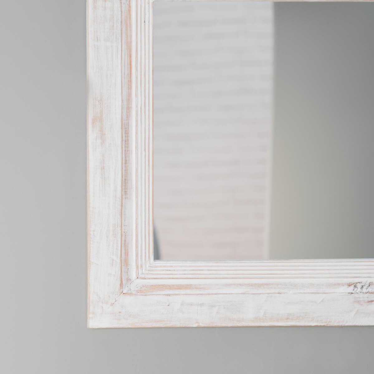 Miroir venise en bois patin c rus blanc 140cm x 80cm for Miroir blanc vieilli