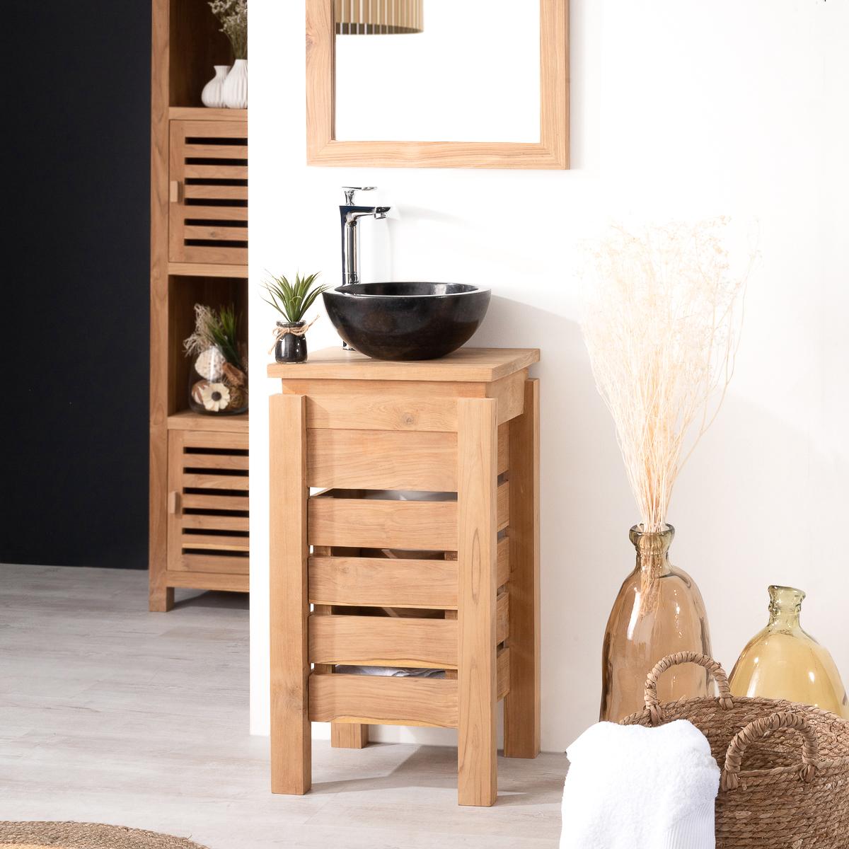 Mueble peque o para cuarto de ba o wc zen de teca 40 cm for Mueble bano pequeno ikea
