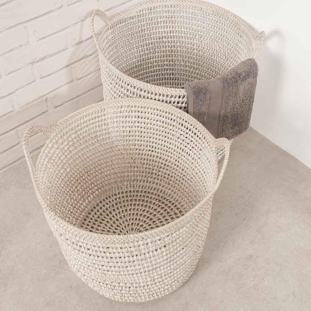Panier salle de bain panier rangement salle de bain osier x2 40 cm - Panier de rangement en osier ...