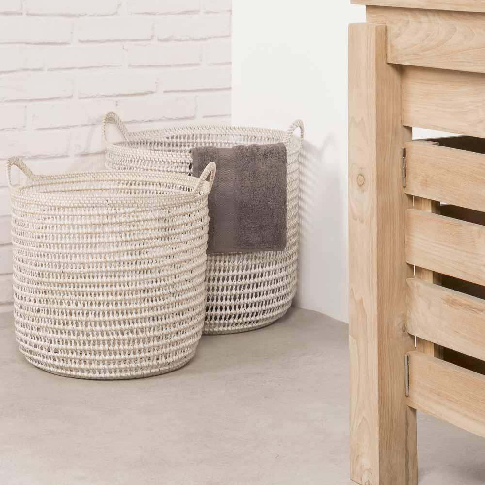 panier salle de bain panier rangement salle de bain osier x2 40 cm. Black Bedroom Furniture Sets. Home Design Ideas