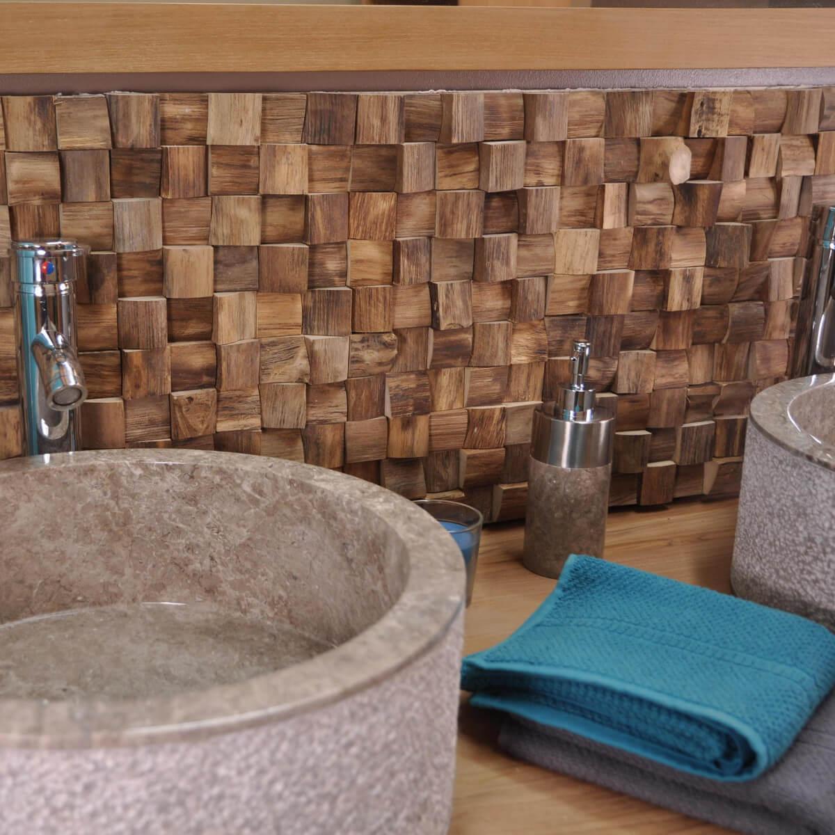 parement mosa que en teck recycl naturel carr 20cm x 50cm. Black Bedroom Furniture Sets. Home Design Ideas