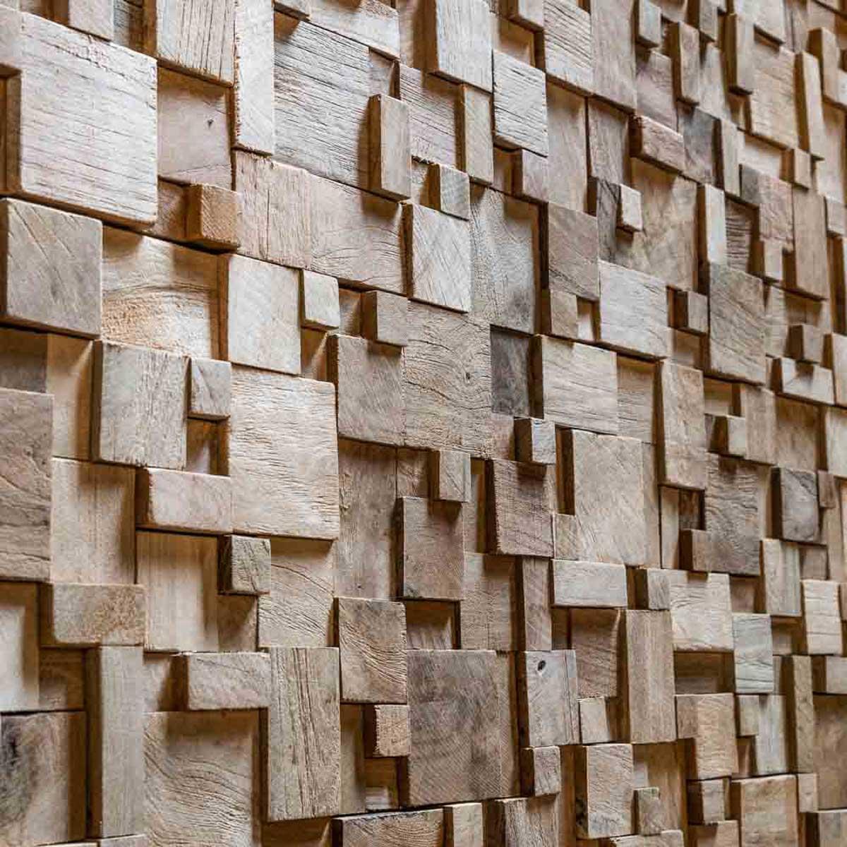 Parement mosa que en teck recycl naturel carr irr gulier - Parement bois mural ...