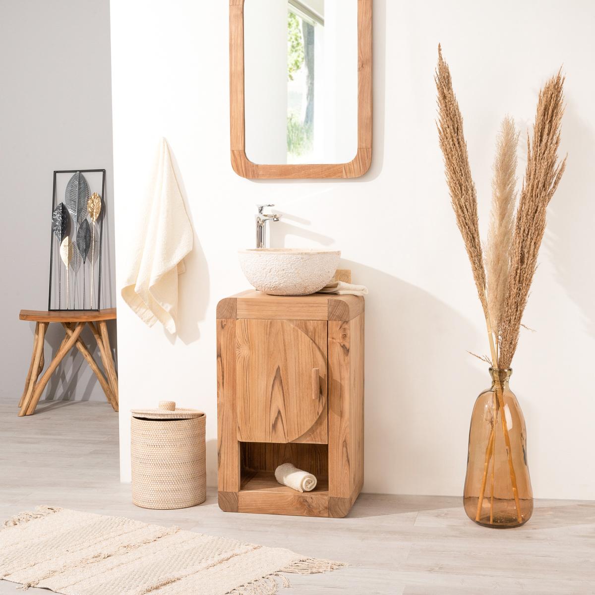 meuble sous vasque simple vasque en bois teck massif contemporain rectangle naturel l. Black Bedroom Furniture Sets. Home Design Ideas