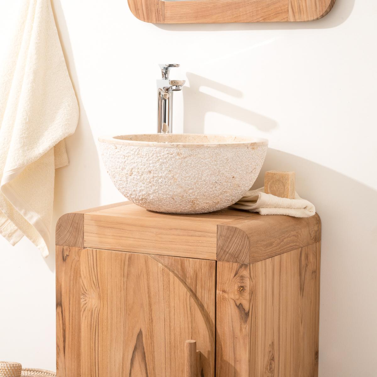 Meuble sous vasque simple vasque en bois teck massif for Salle de bain moderne petit espace