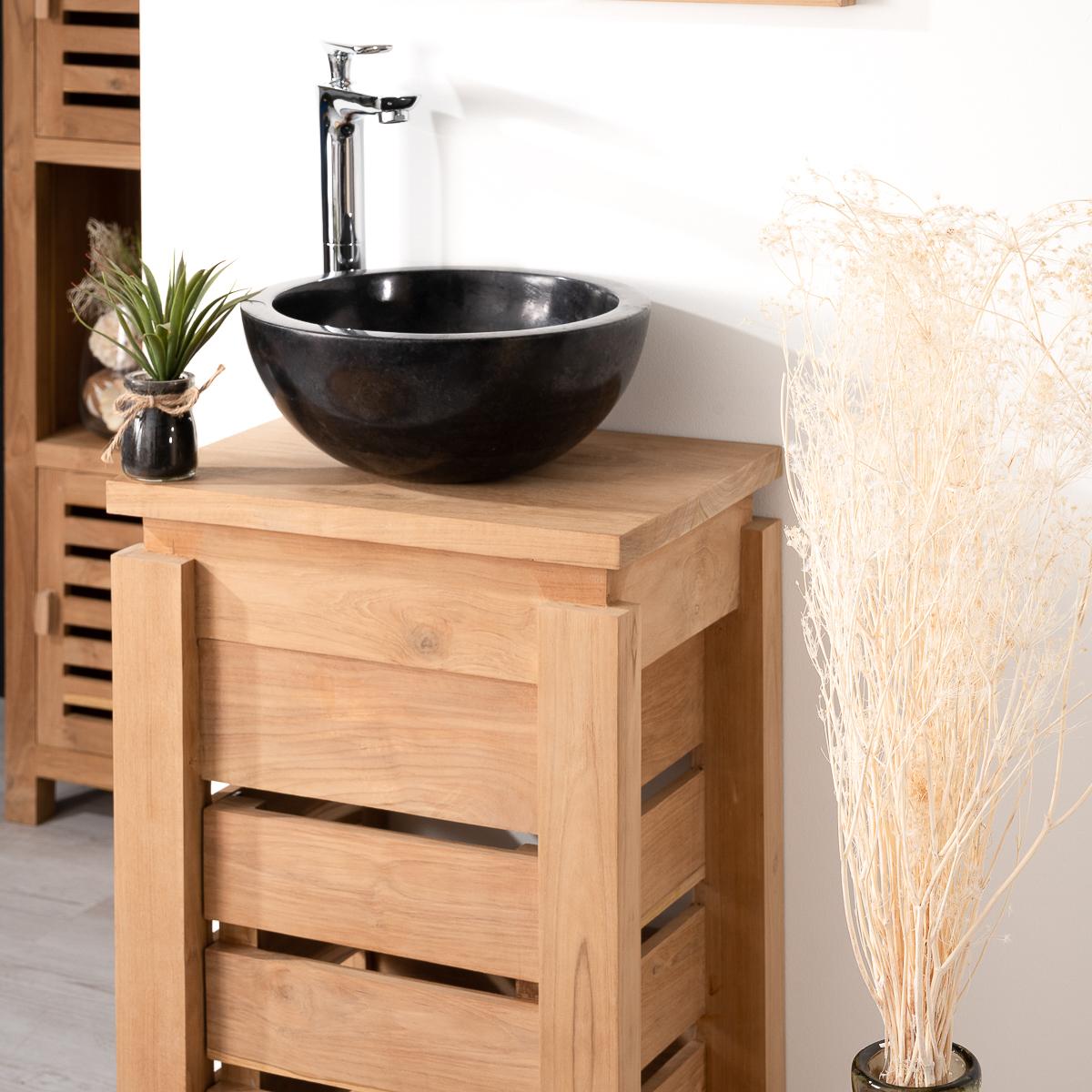 Meuble sous vasque simple vasque en bois teck massif - Petit meuble d angle salle de bain ...