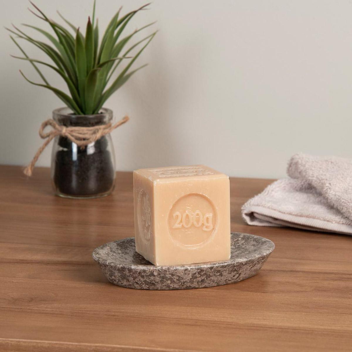 Porte savon de salle de bain en marbre gris h 16 cm for Accessoire salle de bain marbre