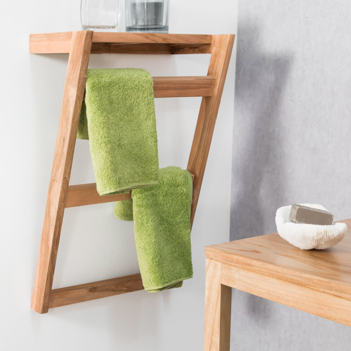 Porte serviette en teck fixer - Porte serviette salle de bain mural ...