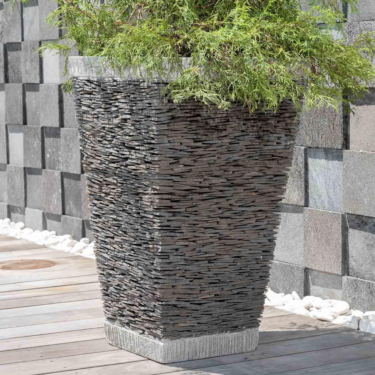 pot de jardin en ardoise carr naturel h 80 cm. Black Bedroom Furniture Sets. Home Design Ideas