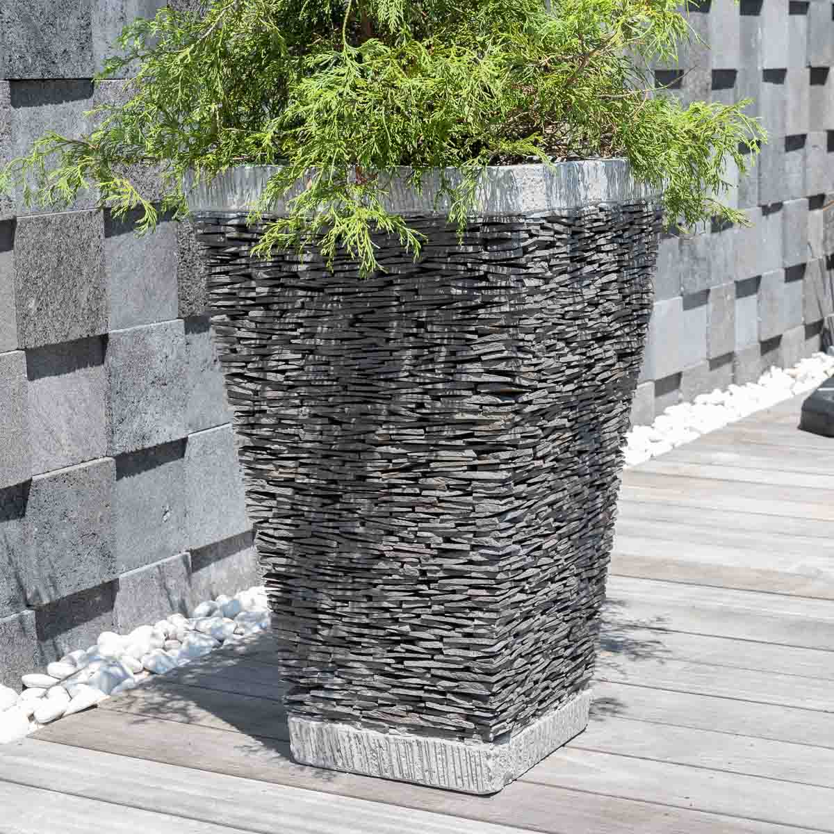 Pot de jardin en ardoise carr naturel h 80 cm for Bac pierre jardin