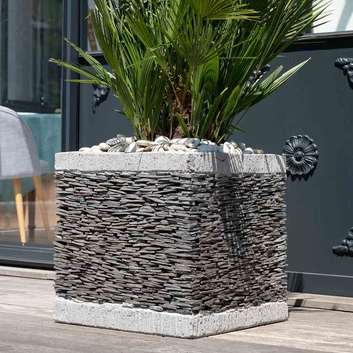 pot de jardin en ardoise cube naturel h 50 cm. Black Bedroom Furniture Sets. Home Design Ideas