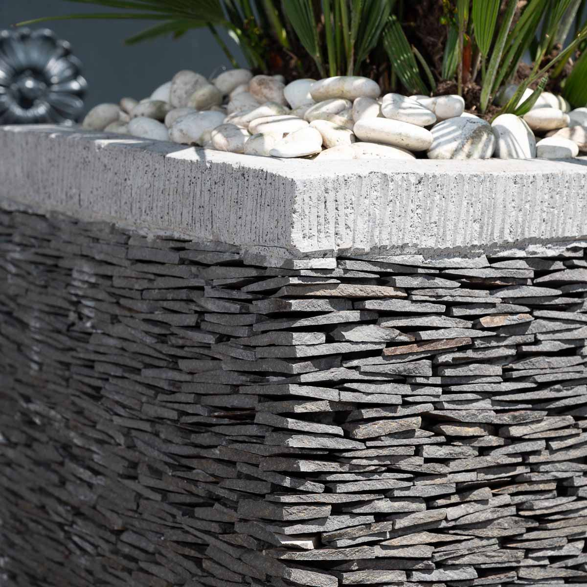 pot de jardin en ardoise cube naturel h 50 cm. Black Bedroom Furniture Sets. Home Design Ideas