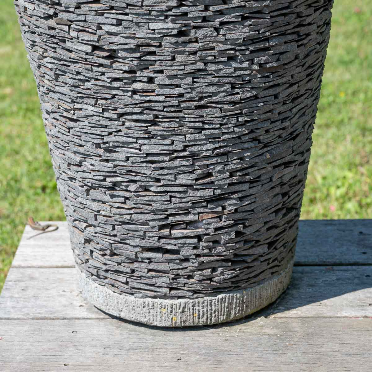Pot de jardin en ardoise conique naturel h 50 cm for Deco terras zen
