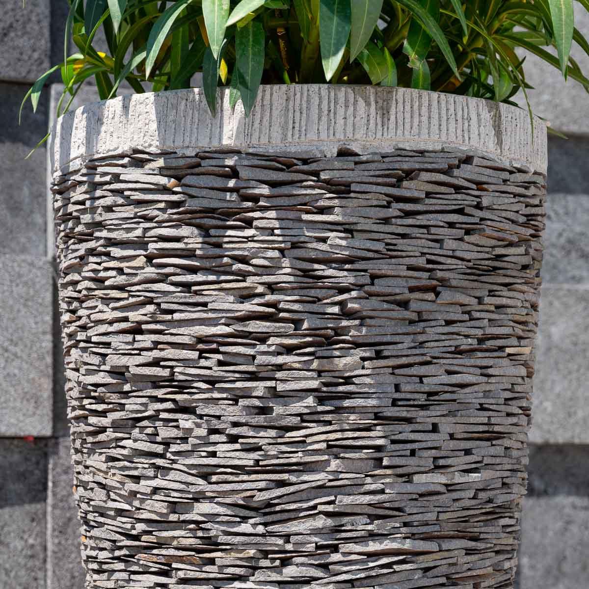 Pot de jardin en ardoise : conique, naturel, H : 80 cm