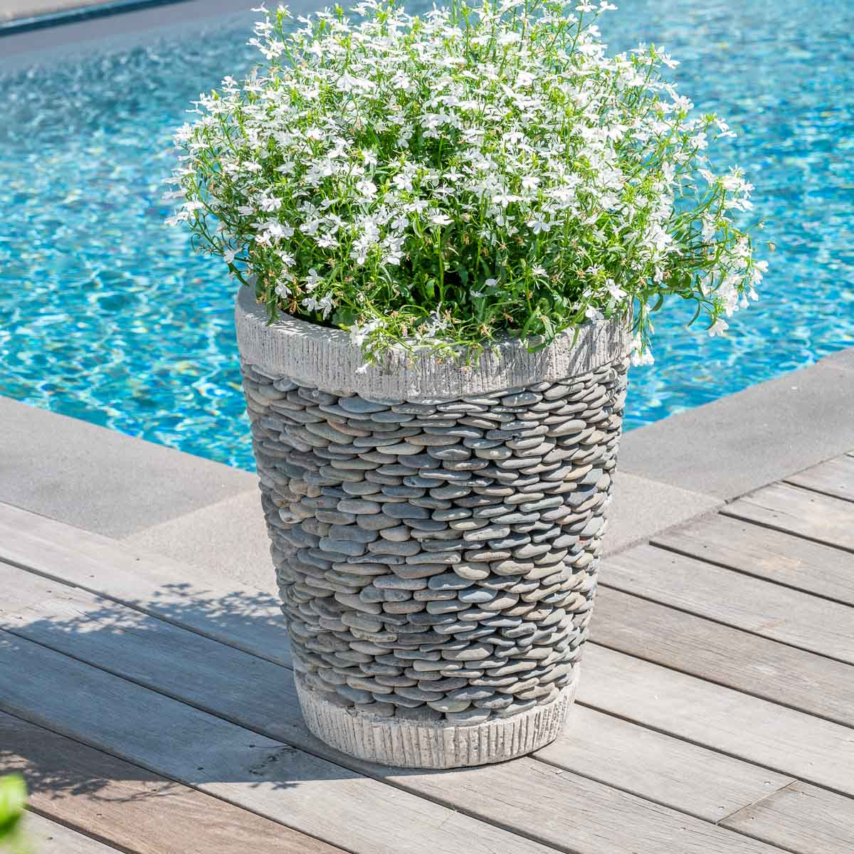 Pot De Jardin En Galet De Rivi Re Conique Naturel H 50 Cm