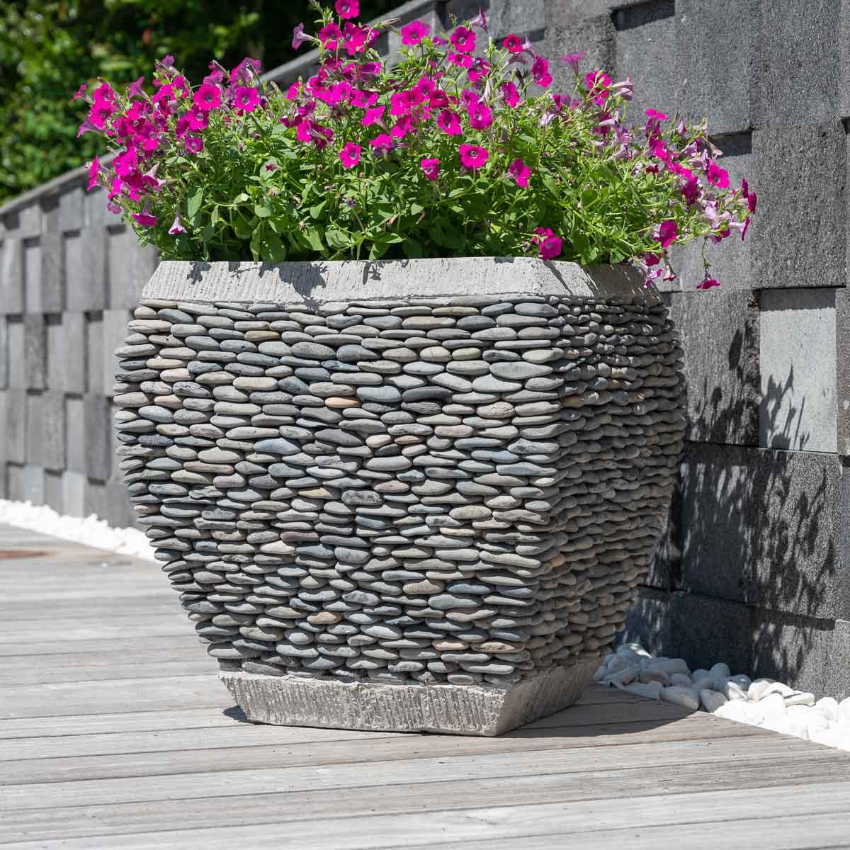 Pot bac jardinière galbé galet hauteur 50cm jardin zen