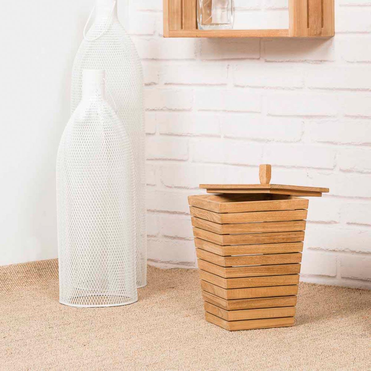 poubelle en teck. Black Bedroom Furniture Sets. Home Design Ideas