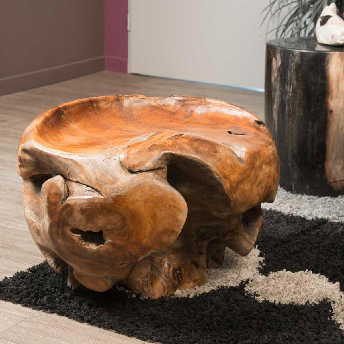 meuble en bois tabouret bois racine de teck 40 x 50 cm. Black Bedroom Furniture Sets. Home Design Ideas