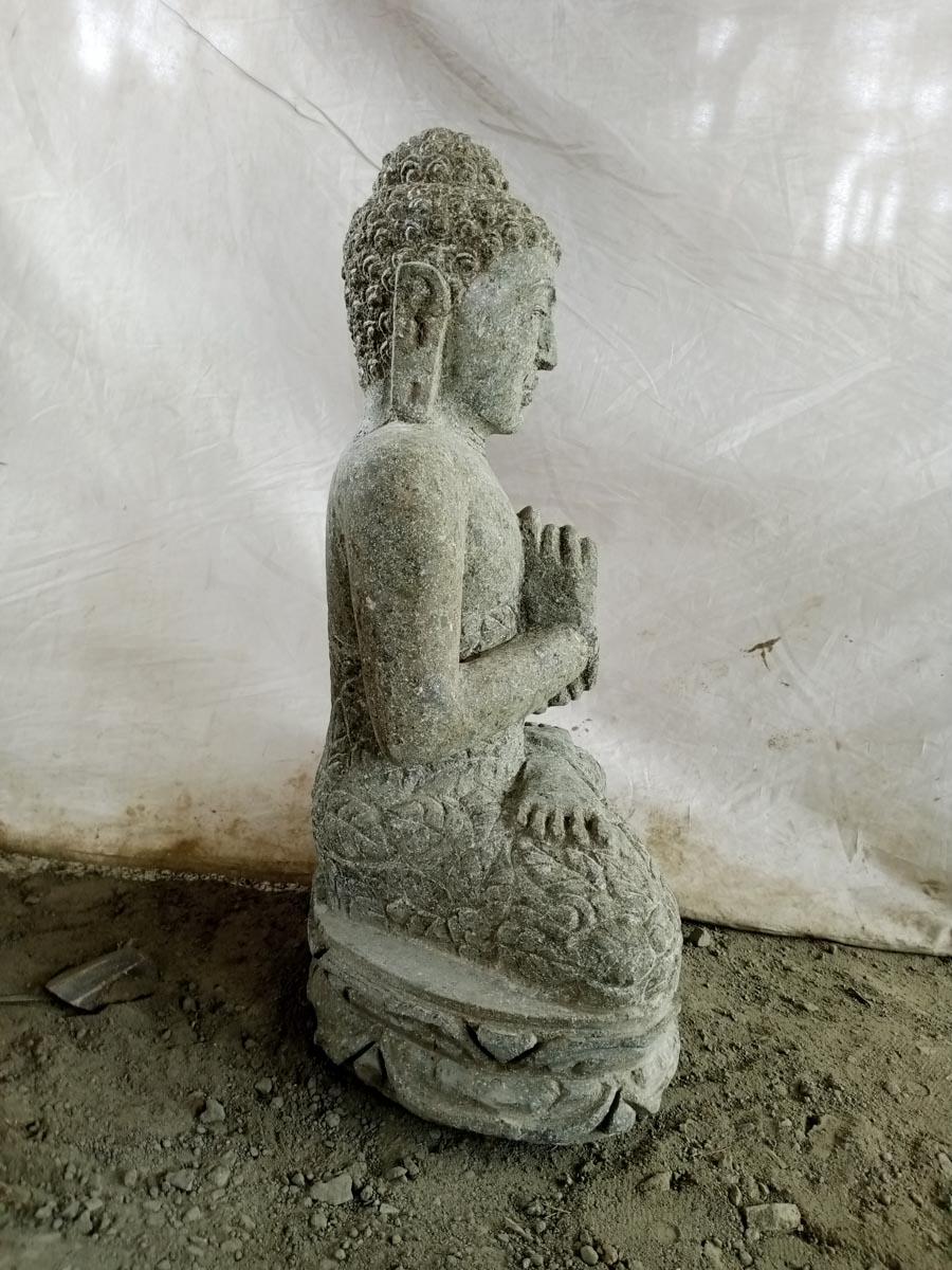 sculpture en pierre volcanique de bouddha position chakra jardin 50 cm. Black Bedroom Furniture Sets. Home Design Ideas