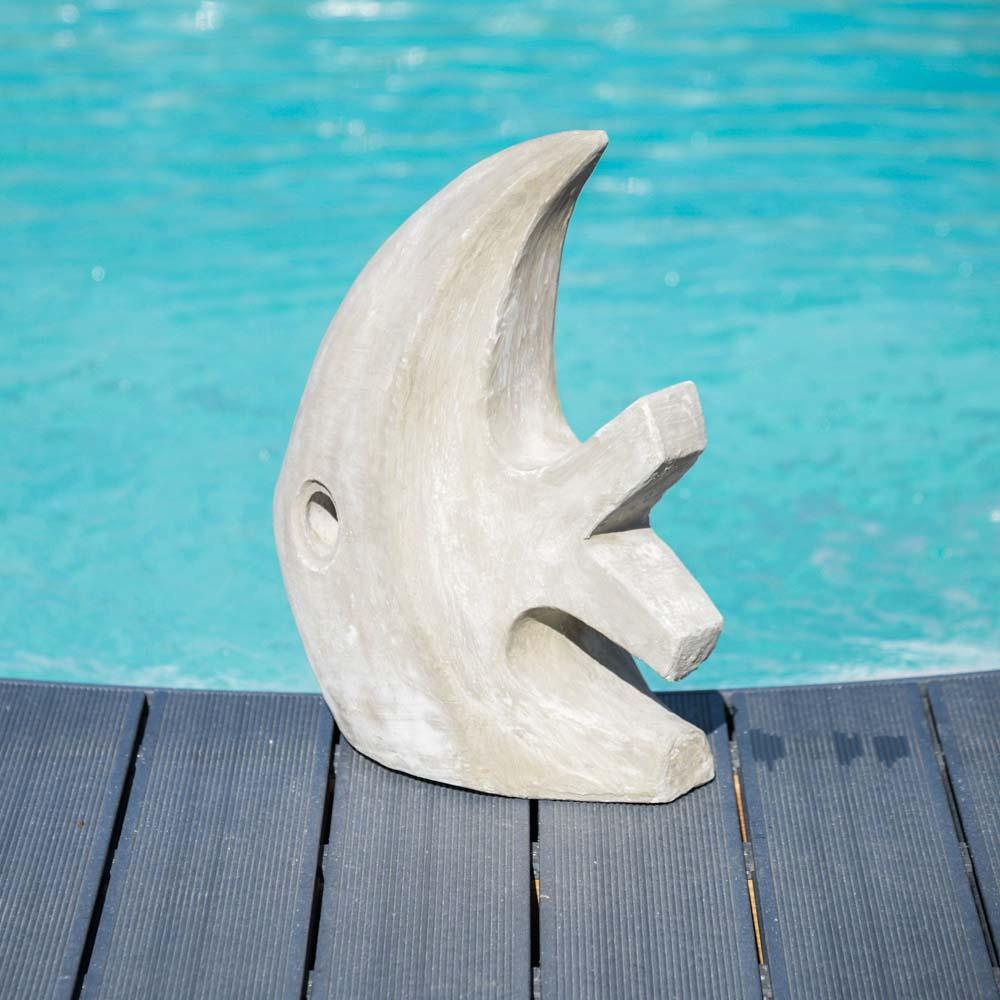 Sculpture moderne jardin poisson petite mod le gris 50 cm - Modele poisson ...