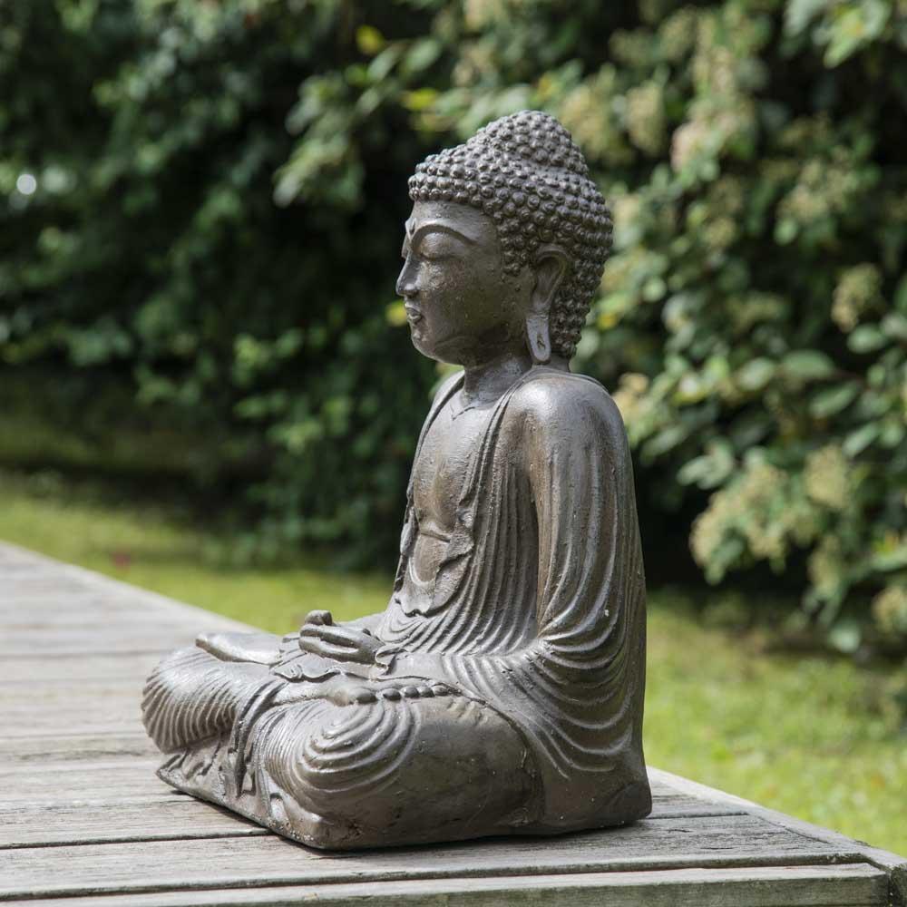 statue bouddha assis position offrande brun 42 cm. Black Bedroom Furniture Sets. Home Design Ideas