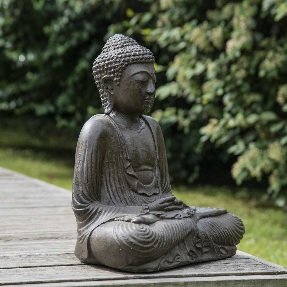 Statue bouddha assis position offrande brun 42 cm - Bouddha de jardin ...