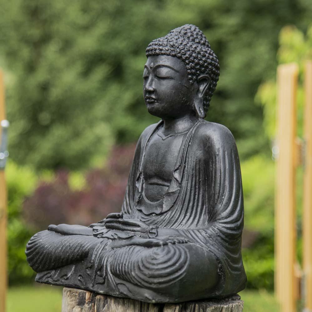 statue bouddha assis position offrande noir 42cm wanda. Black Bedroom Furniture Sets. Home Design Ideas