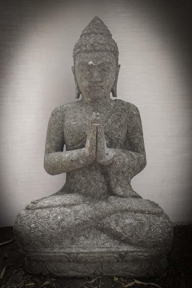 statue de bouddha assis de jardin position pri re 80cm. Black Bedroom Furniture Sets. Home Design Ideas