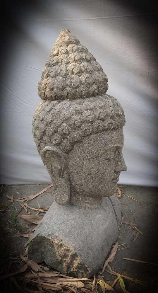 statue de jardin buste bouddha en pierre naturelle pierre volcanique 70 cm. Black Bedroom Furniture Sets. Home Design Ideas