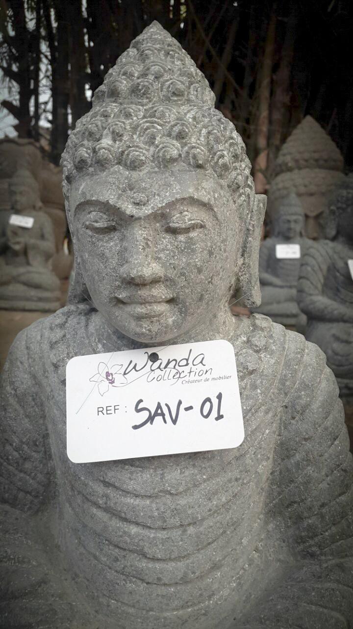 statue de bouddha en pierre assis jardin zen collier 50 cm. Black Bedroom Furniture Sets. Home Design Ideas