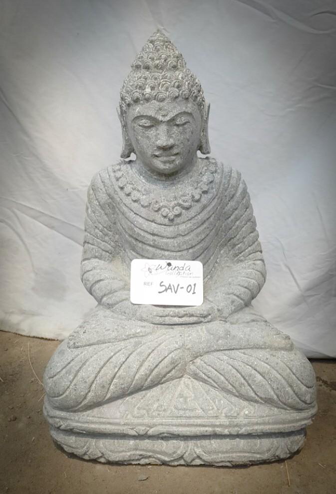 Statue de bouddha en pierre assis jardin zen collier 50 cm for Bouddha jardin zen
