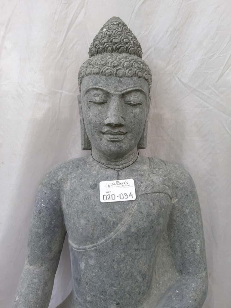 Statue de bouddha en pierre jardin zen position offrande 1 for Bouddha jardin zen