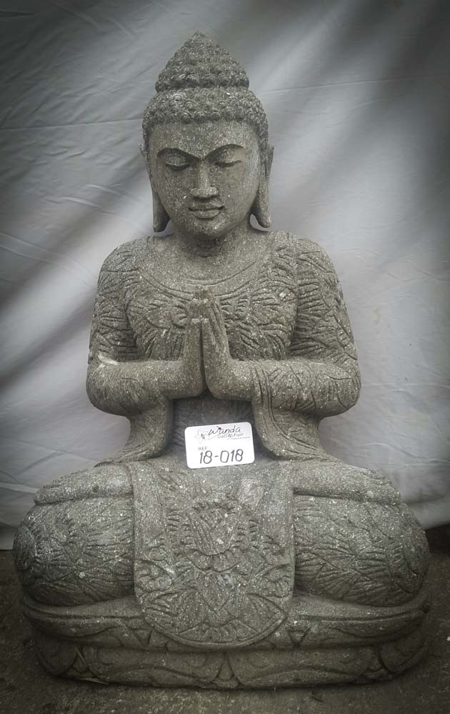 statue de bouddha en pierre naturelle de jardin position pri re 80cm. Black Bedroom Furniture Sets. Home Design Ideas