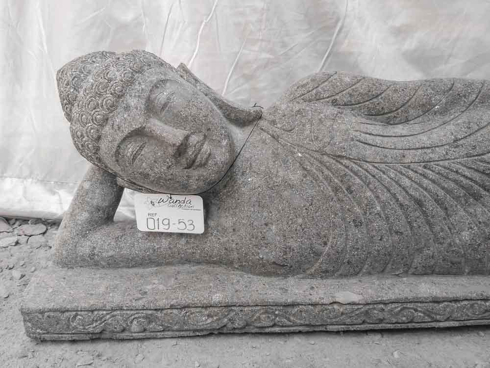 statue de jardin bouddha allong e en pierre naturelle 1 m 20. Black Bedroom Furniture Sets. Home Design Ideas