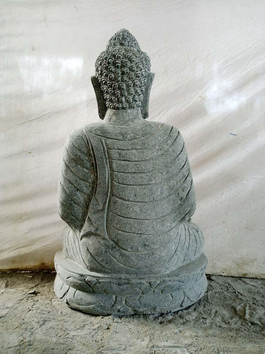 statue de jardin bouddha assis en pierre chakra et chapelet 80cm. Black Bedroom Furniture Sets. Home Design Ideas