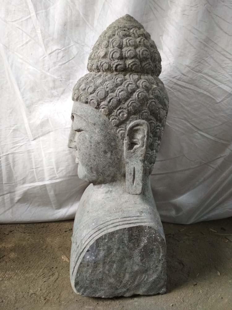 statue de jardin : statue buste bouddha, pierre naturelle, 70 cm