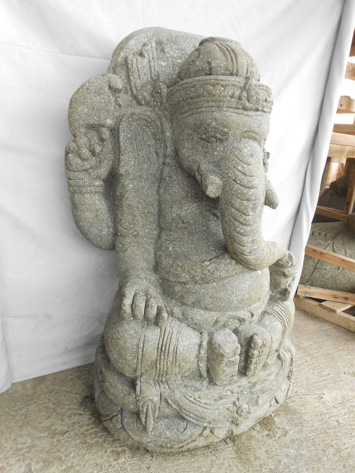Statue de jardin ganesh en pierre de lave 80 cm - Statue jardin ...