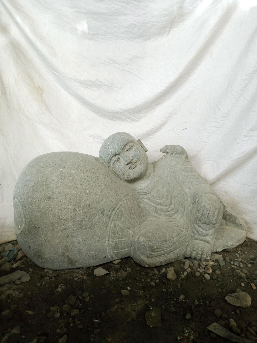 Statue de jardin zen moine shaolin en pierre 1 m Statue jardin zen