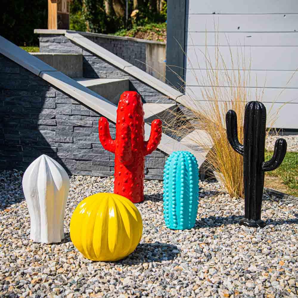 statue deco cactus boule jaune 20cm